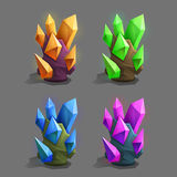 Set of different game resources cartoon crystals. Royalty Free Stock Image