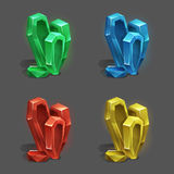 Set of different game resources cartoon crystals. Stock Images