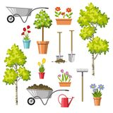 Set of different gardening tools Royalty Free Stock Images