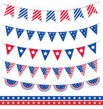 Set of different garland with flag ribbons. American Independence Day 4th of July. Vector illustration Stock Image