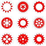 Set of different gears in red color, isolated Stock Image