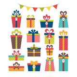Set of different gift boxes. Christmas presents. Royalty Free Stock Photo