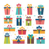 Set of different gift boxes. Flat design. Birthday surprise.  Stock Photos