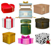 Set different gift boxes.  rose . heart . Royalty Free Stock Photography