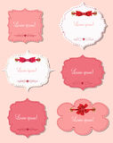 Set of different gift cards with ribbons, design Royalty Free Stock Photo