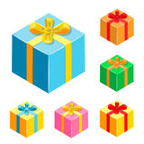 Set of different gifts boxes. Colorful packaging with ribbon Royalty Free Stock Image