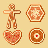 Set of different gingerbread figurines for Christmas decoration Royalty Free Stock Images