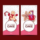 Set of different gingerbreads. Christmas card. vector illustration