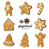 Set of different gingerbreads: man, Christmas tree, bell, star,snowflake,candy cane and house . Vector illustrated. Christmas treats collection. Homemade vector illustration