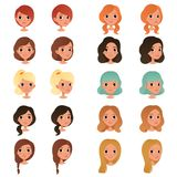 Set of different girl`s hair styles and colors: black, blue, blonde, red, brown. Female teens with big shiny eyes. Human. Head icons. Design for game avatar vector illustration