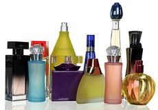 Set of different glass bottles perfume Royalty Free Stock Photography