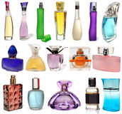 Set different glass bottles of perfume isolated on Royalty Free Stock Photography