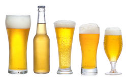 Set with different glasses of beer Stock Photography