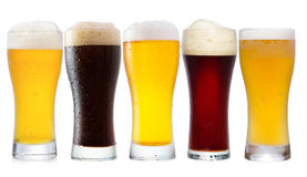 Set with different glasses of beer Royalty Free Stock Images