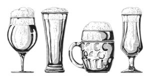 Set of different glasses with beer, different mugs of beer. Vector illustration. Of a sketch style royalty free illustration