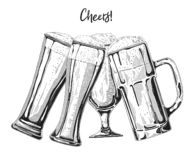 Set of different glasses with beer, different mugs of beer. Vector illustration. Of a sketch style stock illustration