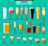 Set of different  glasses with a stroke. Colored glasse Stock Photos