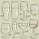 Set of different  glasses, vector Royalty Free Stock Photo