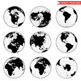 Set of different globe hemishpere. Stock Photography