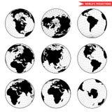 Set of different globe hemishpere. Stock Photography