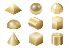 Gold metal forms 3. Set of different gold metal shapes and forms. Vector graphics vector illustration