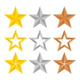 Set of different gold, silver and bronze ranking stars, stock ve vector illustration