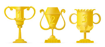 Set of different golden bowls champion award trophy. Vector champion cup sign. Champion cup. Winner gold cup. Trophy and awards icons Royalty Free Stock Photos