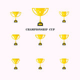 Set of different golden cups.Golden trophy cup isolated on white Stock Photo