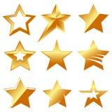 Set of different golden stars  illustration.  Stock Photo