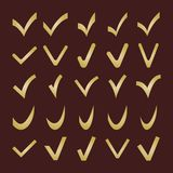 Set of Different Golden Vector Check Marks Stock Photo