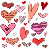 Set of different graphic hearts Royalty Free Stock Photos