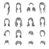 Set of different gray hairstyles for women Stock Photos