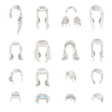 Set of different gray hairstyles for women Stock Photo