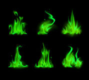 Set of Different Green Fire Flame Bonfire Isolated on Background Stock Images