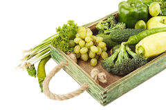 Set of different green fresh raw vegetables and fruits Stock Photography