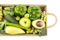 Set of different green fresh raw vegetables and fruits Stock Image