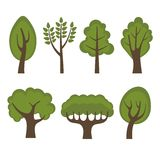 Set of Different Green Trees Cartoon Style. Vector Royalty Free Stock Photo