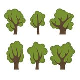 Set of Different Green Trees Cartoon Style. Vector Stock Photo