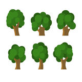 Set of Different Green Trees Icons. Vector Royalty Free Stock Photos