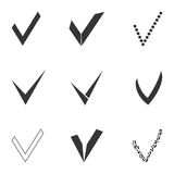 Set of different grey and white check marks. Concept of completion tasks on a list or confirmation acceptance positive passed voting agreement. isolated on white Royalty Free Stock Photography