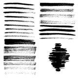Set of different grunge brush strokes and stains. Stock Photo