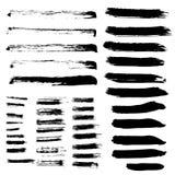 Set of different grunge brush strokes. Stock Photo