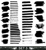Set of different grunge brush strokes. Royalty Free Stock Photo