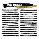 Set of different grunge ink brush strokes. Vector illustration Royalty Free Stock Images