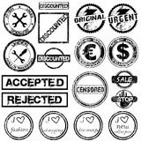 Set with different grunge stamps Royalty Free Stock Photo