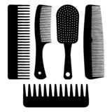 Set of different hair combs. Vector illustration royalty free illustration