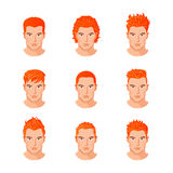 Set different hair style young men portraits isolated vector illustrations Royalty Free Stock Images