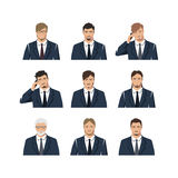 A set with different hairdresses. The young man in a suit. A set with different hairdresses. Vector Stock Photo