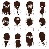 Set of different hairstyles, wedding hairstyles, hair styles with flowers, Stock Photography