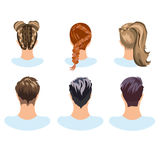 Set of different hairstyles woman and man Royalty Free Stock Image